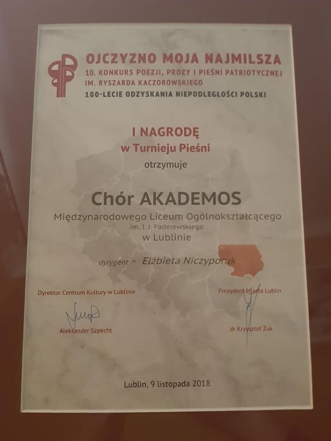 Chór Akademos zwycięzcą X Wojewódzkiego Konkursu Patriotycznego